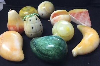 Lot Of 10 Vintage Italian Alabaster Stone Fruit Peach Pear Pineapple Banana Melo