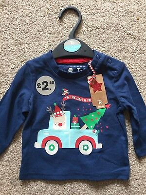 0-3 Months Navy Blue Long Sleeve Christmas Top