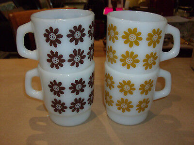 4 Vintage Anchor Hocking  Fire King Stacking Coffee Mugs