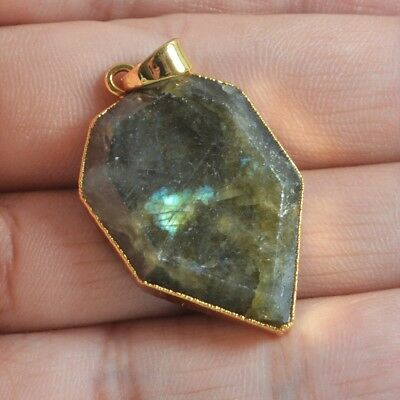 Natural Labradorite Faceted Pendant Bead Gold Plated B049789
