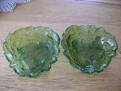 Vintage Pair Of Early American Prescut Green Raspberry And Leaves Bowl