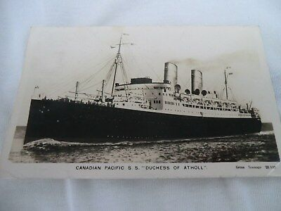 r/p, postcard, canadian pacific s.s. duchess of atholl, posted at sea in 1931,&