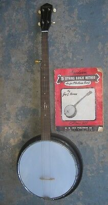 1970s Harmony Banjo w/ Resonator & Vintage Instruction Book. Made in USA. Nice.