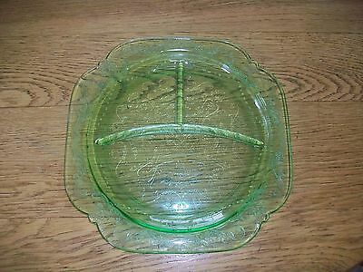 Vintage Federal Glass Green Madrid Vaseline Grill Plate