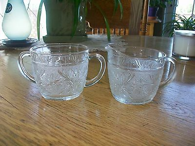 Vintage Anchor Hocking Glass Open Sugar Bowl. Sandwich Pattern