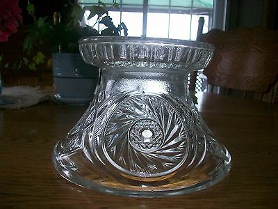 Large Antique L.e. Smith/ Mc Kee Aztec Pinwheel   Pressed Glass Punch Bowl Base