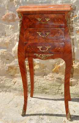 Antique French Louis XVI Tulipwood Bedside Table Drawers Nightstand Marble