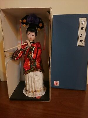 Traditional Chinese Art Silk Figurine Doll Statue holding a flute