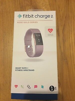 Fitbit Charge 2 Rose Gold Lavender Small Fitness Tracker Boxed