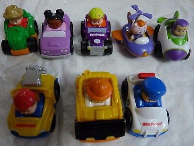 Lot of 7 Fisher Price Little People Wheelies Race Car Tow Truck Jeep Bulldozer