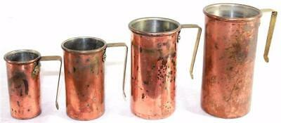 Vintage Set of 4 Douro Copper Measuring Cup w/ Brass Handles Beautiful Patina!