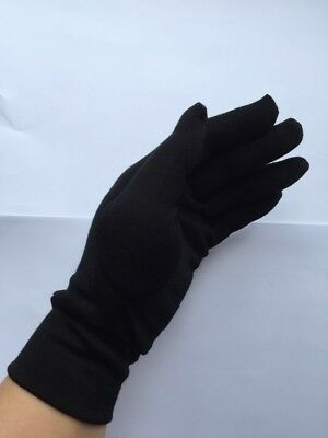New 100% Merino Wool Unisex Autumn Thin Driving Cycling Outdoor Gloves Black