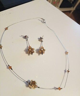 Sterling Silver Jewelled Necklace And Matching Drop Earrings