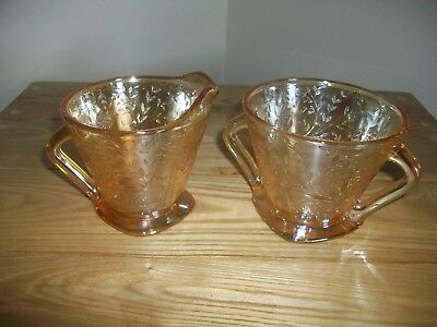 Vintage Jeannette Glass Floragold Pattern Square Footed Cream And Sugar Bowls