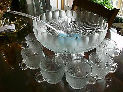Vintage Indiana Crystal Depression Glass Punch Bowl And 6 Cups+Cake Stand