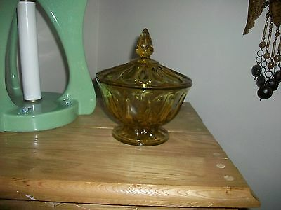 Vintage Eapc Anchor Hocking Fairfield Pattern Lidded Candy Bowl