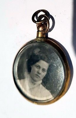 Antique Rolled Gold 2 Sided Photo Locket Pendant
