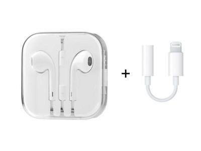 Apple OEM Earpods for iPhone w/Remote & Mic + A1749 Lightning Adapter-MD827LL/A