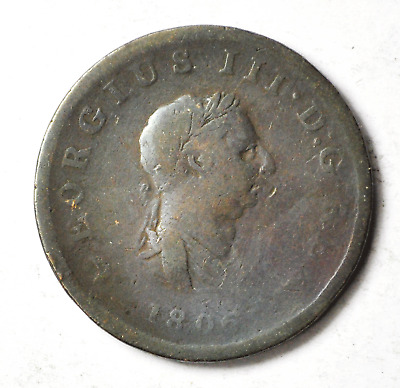 1806 1/2P Great Britain Half Penny Copper Coin KM#662 Rare