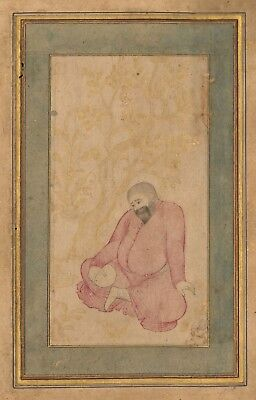 Persian Miniature Painting - Mullah, Safavid 17th - Drawing Islamic Indian