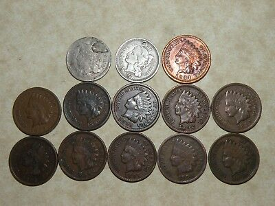 US Coin Lot 1800's Indian Head Penny1883-1899 1860's Three Cent Coins Antique 3c