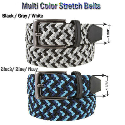 """🕐7001G Men's Fabric Leather Elastic Multi Color Golf Stretch Belts 1 3/8"""" Wide"""