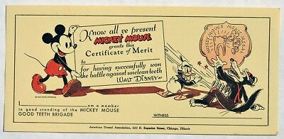 S748. W. D. Ent. MICKEY MOUSE Good Teeth Brigade Certificate of Merit (1930's) [