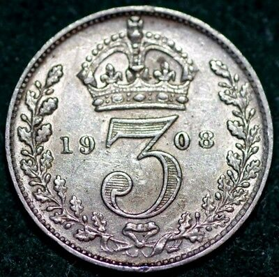 Edward VII Silver Threepence 1908 NEF with some tone