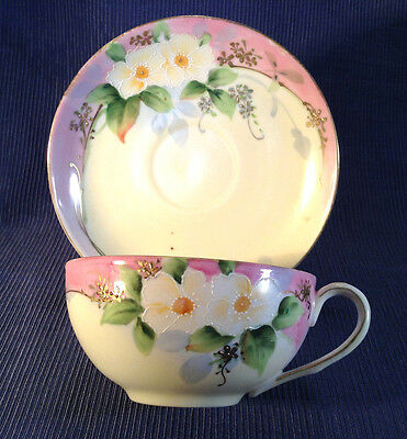 Nippon Pink And White Tea Cup And Saucer - Hand Painted With Gilding And Moriage