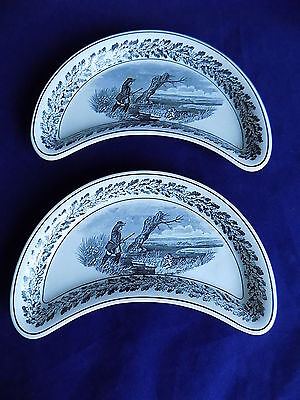 Vintage Copeland Late Spode Hunting Scenes Crescent Dishes x 2