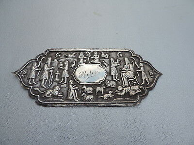 RARE ANTIQUE 19TH C PERSIAN QAJAR ISLAMIC SOLID SILVER PLAQUE TILE 43 gr 1.5 oz