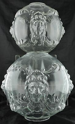 Antique Victorian Oil Or Electric Globe Clear Glass Lamp Shade Lion Head Pair