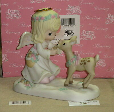Precious Moments - Signed Bottom - Christmas Is Sharing - N Box - Angel & Deer