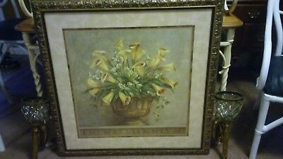 """Home Interior Large Gold Framed Calla Lilly Print and Large Sconces, 35"""" x 35"""","""