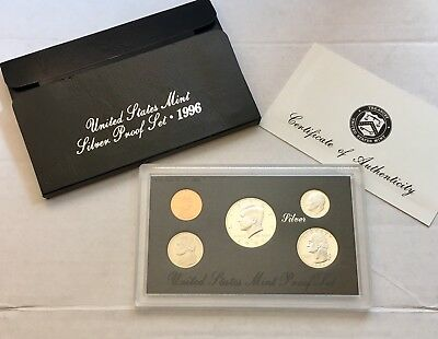 1996 US Silver Proof Set - 90% Silver PQ Proof Coins - NR Auction! Silver Coin