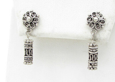 925 Sterling Silver - Vintage Antique Finish Floral Dangle Earrings 4g