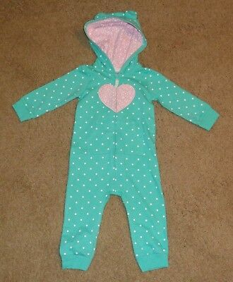 Nwot Green Polka Dot Hooded One Piece From Carters Size 12 Months