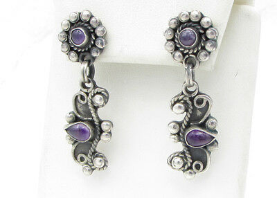 925 Sterling Silver  MEXICO Vintage Antique Finish Elegant Amethyst Earrings 16g
