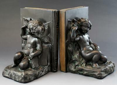 C1915 Bronze Patina Figural Bookends w/ Nude Fairies & Butterflies No Reserve