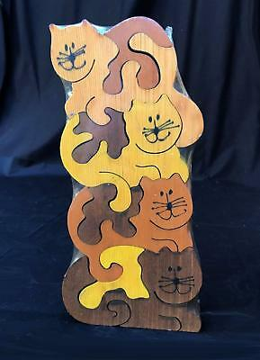 Vintage Wood Stacked Cats Puzzle 8pc New Heat Sealed Artist Signed Colorful 1985