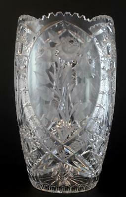 19C American Brilliant Cut Crystal Glass Large Vase w/ Roses No Reserve