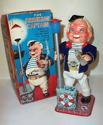 OLD 1960's BATTERY OPERATED THE DRINKING CAPTAIN BARTENDER'S MAN CAVE BUDDY