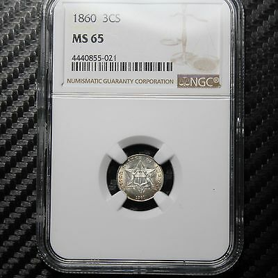 1860 Three Cent Silver NGC MS65 - A BEAUTY!