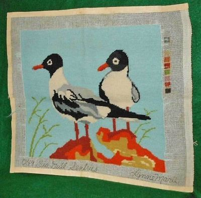 Vintage Needlepoint Sea Gull Sentries Marine Birds Beach Dunes Ornithology