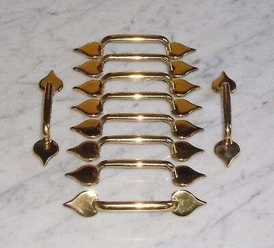 10 Vintage Gold Brass Tone Solid Metal Colonial Spade Tip Drawer Pulls