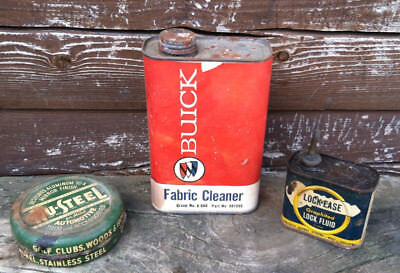 Three Vintage Tins, Buick Fabric Cleaner, Lock Ease And Nu-Steel