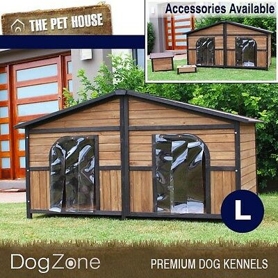 NEW Brunswick Double Wooden Dog House Wood Timber Kennel - Large