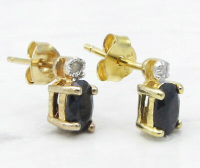 925 Silver & 18K Gold VICTORIA TOWNSEND Sapphire & Genuine Diamonds Earrings 2g
