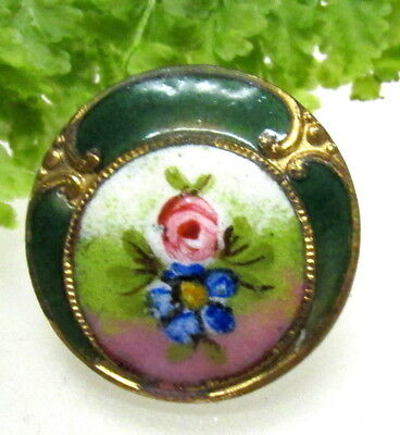 Pretty Antique French Champleve Enamel Button W/ Flowers V71