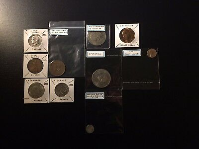 10 Assorted coins from different countries, USA, Britain, France etc.